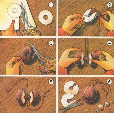 Как сделать помпоны своими руками из ниток
